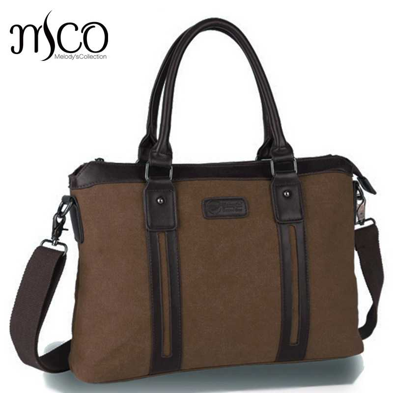MCO erkekler tuval vintage Casual evrak İş omuzdan askili çanta postacı çantası bilgisayar dizüstü bilgisayar çantası çantası erkek seyahat çantaları