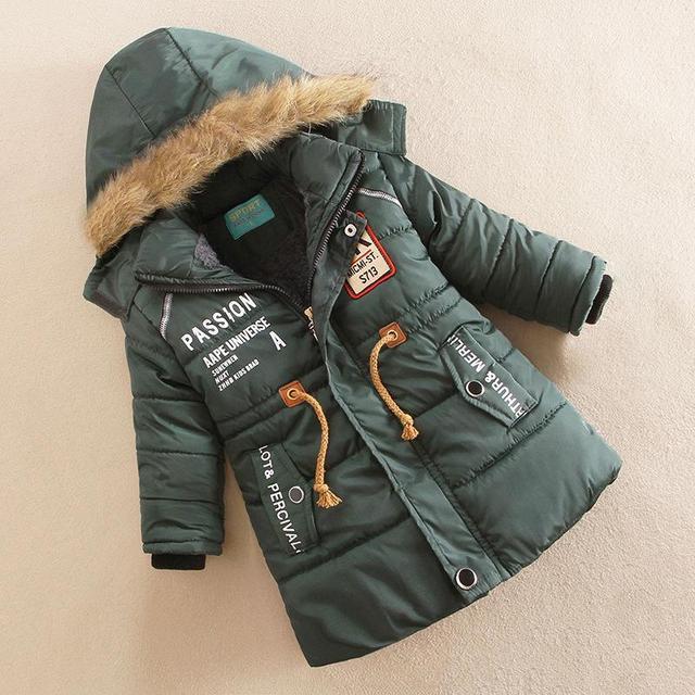 7be0b769a 2017 Hot Sale Fur Hooded Boys Winter Coat Long Sleeve Boys Winter Jacket  WindProof Children Kids