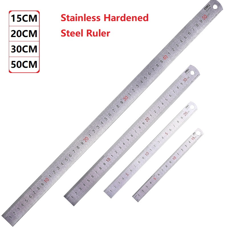 Stainless Hardened Steel Straight Ruler 15/20/30/50CM Student Rulers Measure Office & School Stationery