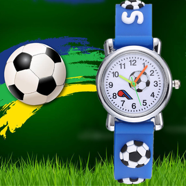 New 3D Cartoon fashion silicone football kids Watch Children Girls Boys Students