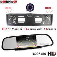 KOORINWOO Car parking Sensor HD Car Monitor Video European License Plate Frame camera Auto Reversing Cam rearview mirror radars