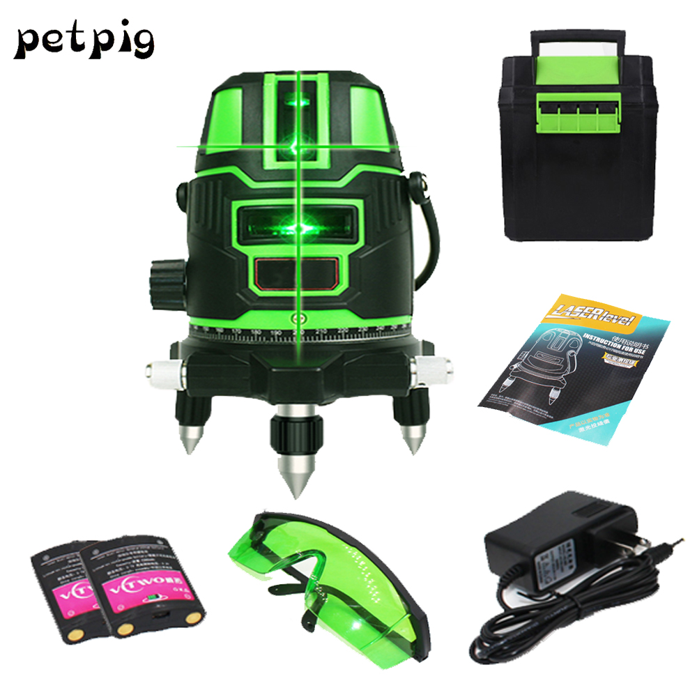 2 laser Green lines 1 points 360 degrees rotary 532nm outdoor mode receiver and tilt slash