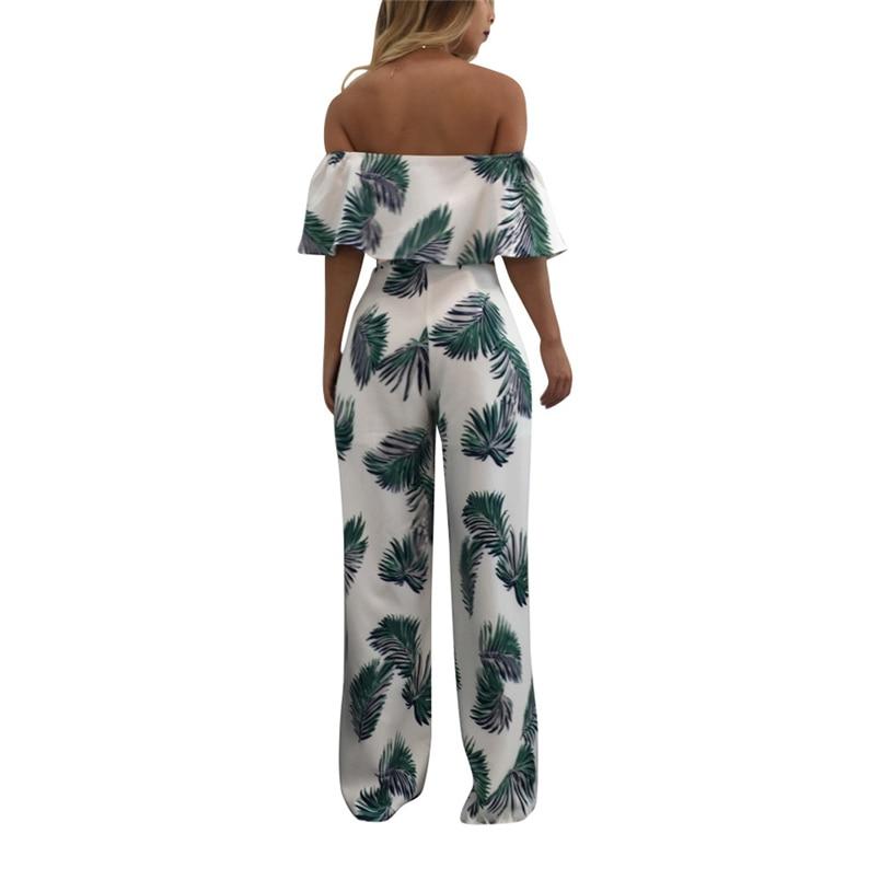 Women Summer Jumpsuit Fashion Short Sleeve Off One Shoulder Floral Print Playsuit Long Pants Casual Rompers Jumpsuit F#L20 (13)