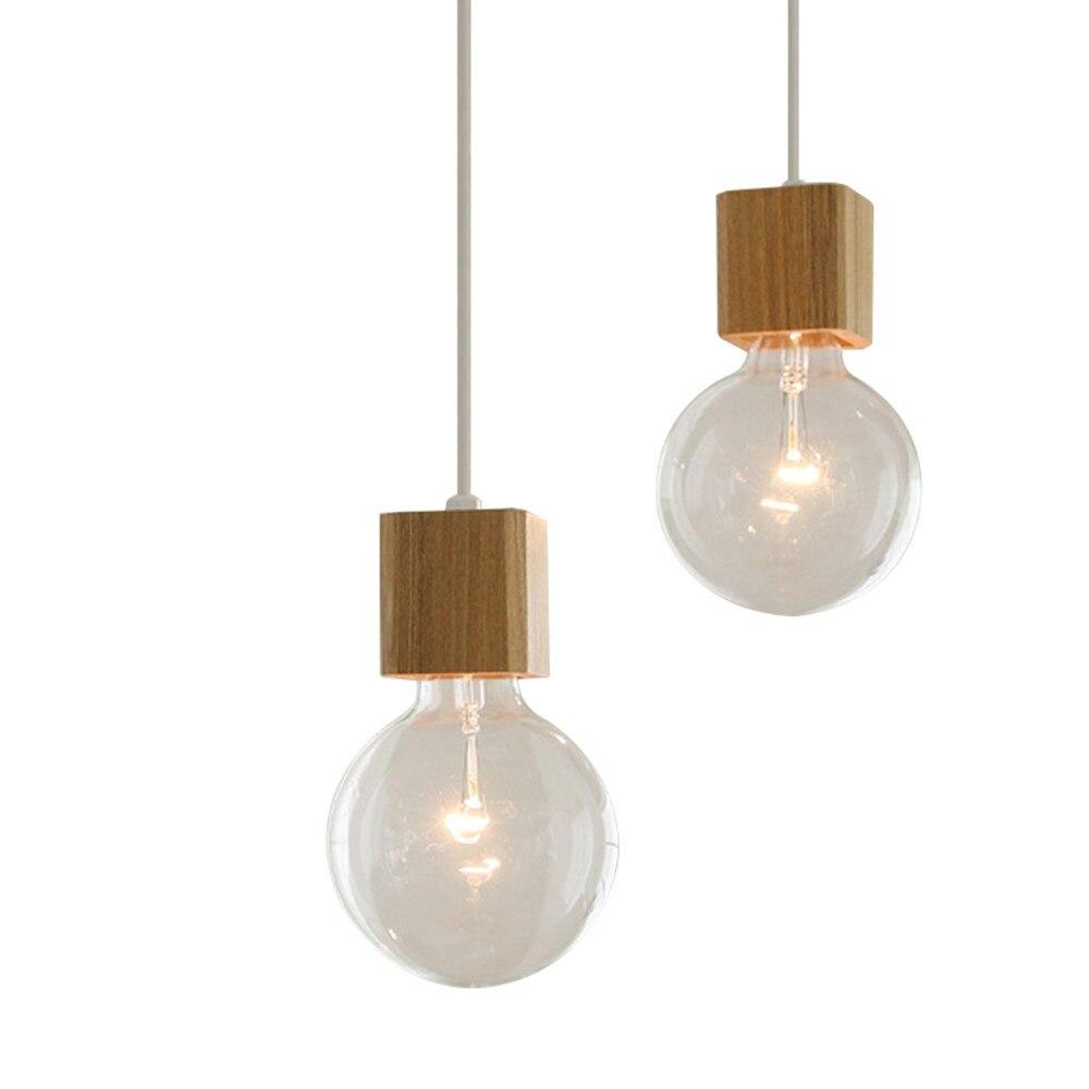 BOKT 1-light minimaliste plafonnier suspension profiter bricolage multi-suspendus lanterne kit en bois naturel lampe titulaire E26/E27