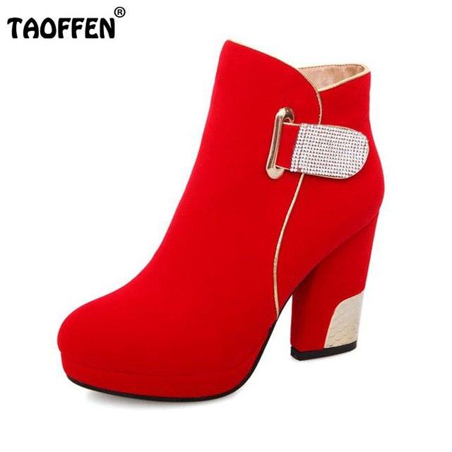 5ef91546 Envío libre medio tobillo corto botas de tacón alto mujeres de la moda de  invierno la