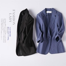 fashion Blazer Feminino Women cotton Linen Blazer S