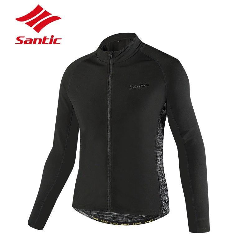 Santic Automne Hiver Cyclisme Veste Hommes à manches longues Thermique Polaire Coupe-Vent Vélo Veste Manteau tenue de vélo Jersey de Sport
