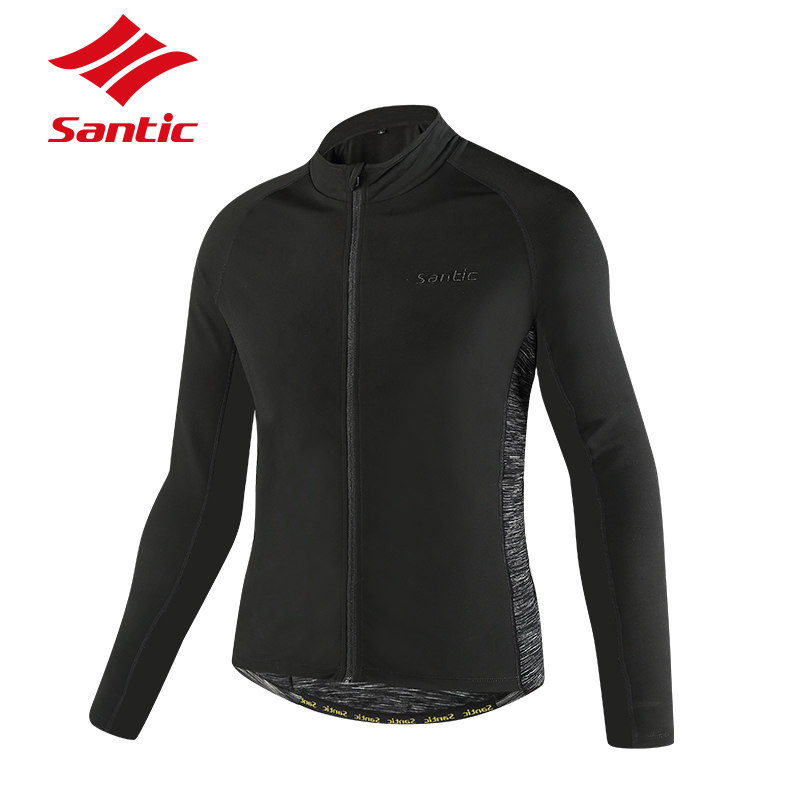 Santic Autumn Winter Cycling Jacket Men Long Sleeve Thermal Fleece Windproof Bicycle Jacket Coat MTB Bike Clothing Sportswear men fleece thermal autumn winter windproof cycling jacket bike bicycle casual coat clothing warm long sleeve cycling jersey set