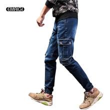 Plus Size 28-40 Male Denim Cargo Pant Street Fashion Hiphop Jean High Quality Men Denim Trousers