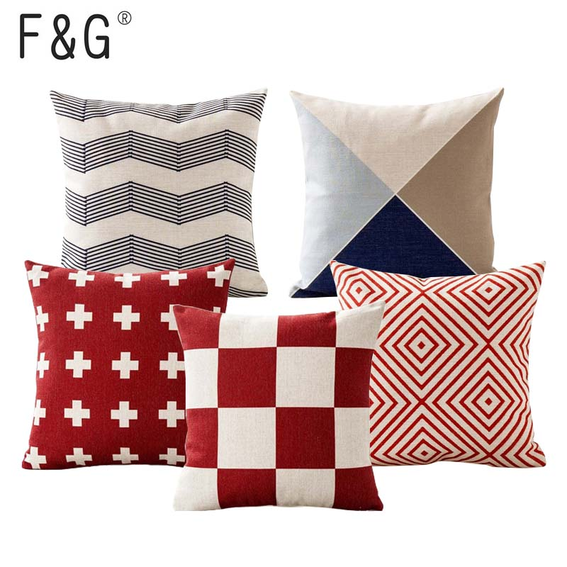 Red Striped Geometric Decorative Throw Pillows Case for Sofa Seat ...