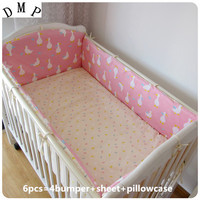 Promotion! 6pcs Cotton Baby Sheet Luxury Princess Crib Bedding Set Boys Girls ,include(bumpers+sheet+pillow cover)