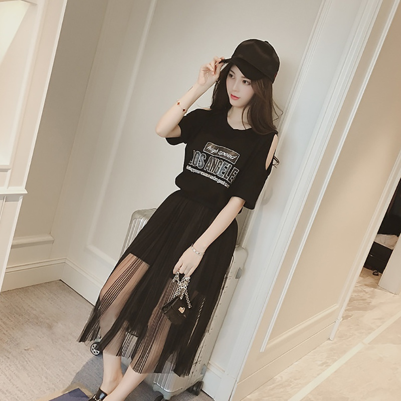 2019 Fashion Women Round Neck Number Print Short Sleeve Cold Shoulder T Shirt Dress + Mesh Skirt Two-Piece Set
