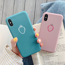 Plain Case Soft TPU Cover For iPhone 8 Plus 7 Plus X XR XS Xs Max Cases For iPhone 6S Plus 6 Plus Cute Strawberry Phone Case strawberry tpu soft case for iphone 7 x xs xr xs max 8 plus cases glossy phone case for iphone 6s plus 6 plus fashion cover