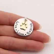 Живая Любовь спасения собака Лапа Печати Ожерелье Мемориал бирка