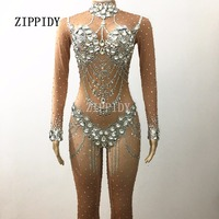Sparkly Silver Crystals Nude Jumpsuit Stretch Stones Outfit Celebrate Bright Rhinestones Bodysuit Female Singer Birthday Costume