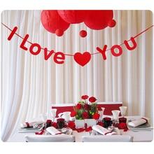 3 м I Love You Винтаж красный/золото Бумага картонная Гирлянда Свадьба Баннер Украшения овсянка Свадебная вечеринка события поставок