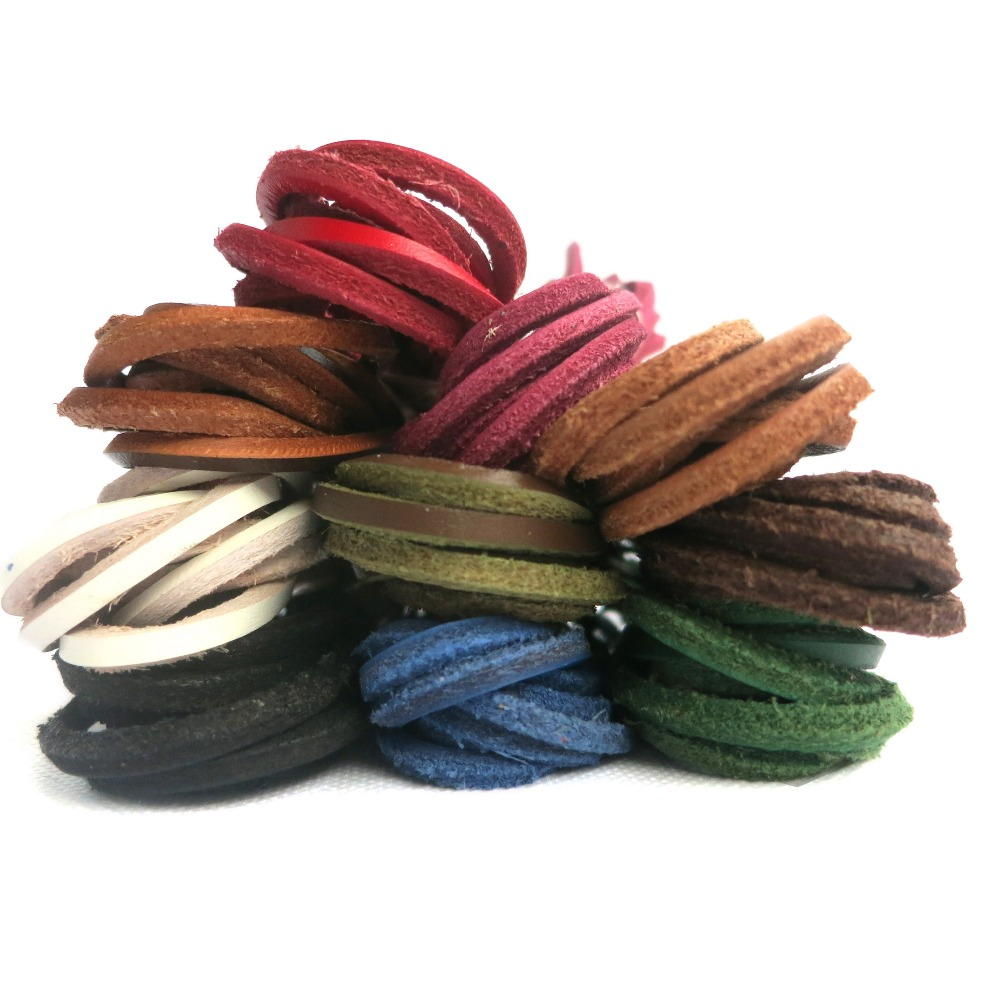YJRVFINE 2 Pairs Square 3 * 3mm1/8 Boot Laces String Shoelaces Retro Genuine Leather Shoe Laces for Work Boots&Boat Shoes