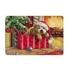 Коврик для ванной комнаты, Впитывающий Коврик для ванной с принтом милой собачки, кухонный коврик, коврик для Рождественского украшения