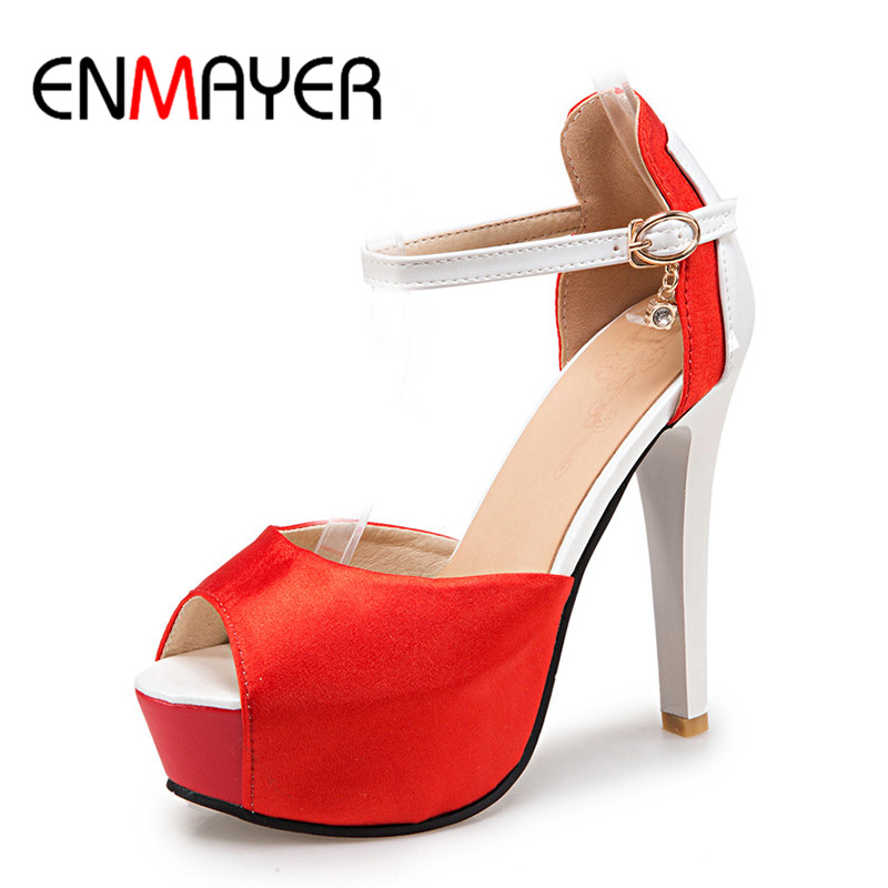 ENMAYER Sexy High Heels Peep Toe Ankle Strap Shoes Woman Summer Pumps Sandals Large Size 34-45 White Shoe Sexy Red Party Pumps big size 32 43 fashion party shoes woman sexy high heels platform summer pumps ankle strap sandals women shoes
