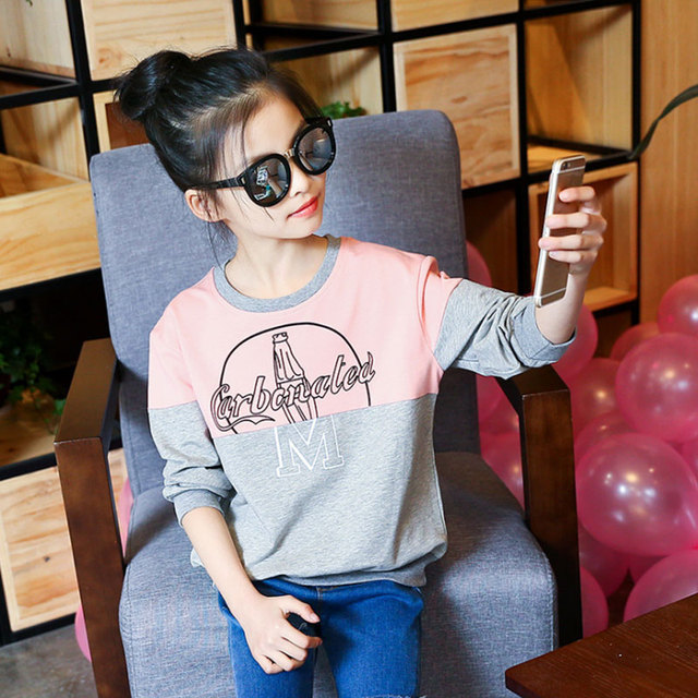 Girls T Shirts Kids casual Spring Autumn Long Sleeve Patchwork Shirts For teenager girl tops Children Clothing34 6 8 9 10 12Year