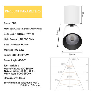 Image 5 - [DBF]Foldable LED Surface Mounted Ceiling light 7W 12W Black/White Housing 360 Degree Rotatable Spot Light Dimmable Ceiling lamp
