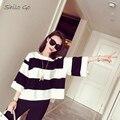Envío Libre CALIENTE 2016 del verano nuevas mujeres de la alta calidad delgada XL moda hit color de la raya suelta suéter de la manga de La Camiseta en blanco y negro