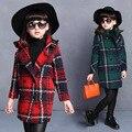 Niñas de invierno coreano nuevo paño de la rejilla niños acolchado engrosamiento abrigo largo kids clothing rojo gris verde