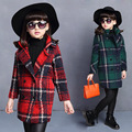 Winter Girls Korean New Grid Cloth Children Quilted Thickening Long Coat Kids Clothing Red Grey Green
