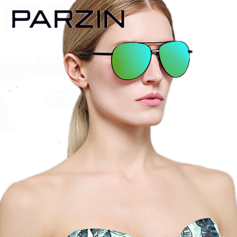 Parzin Colorful Retro Polarized Aviator Sunglasses Men Women Sun Glasses Female Shades