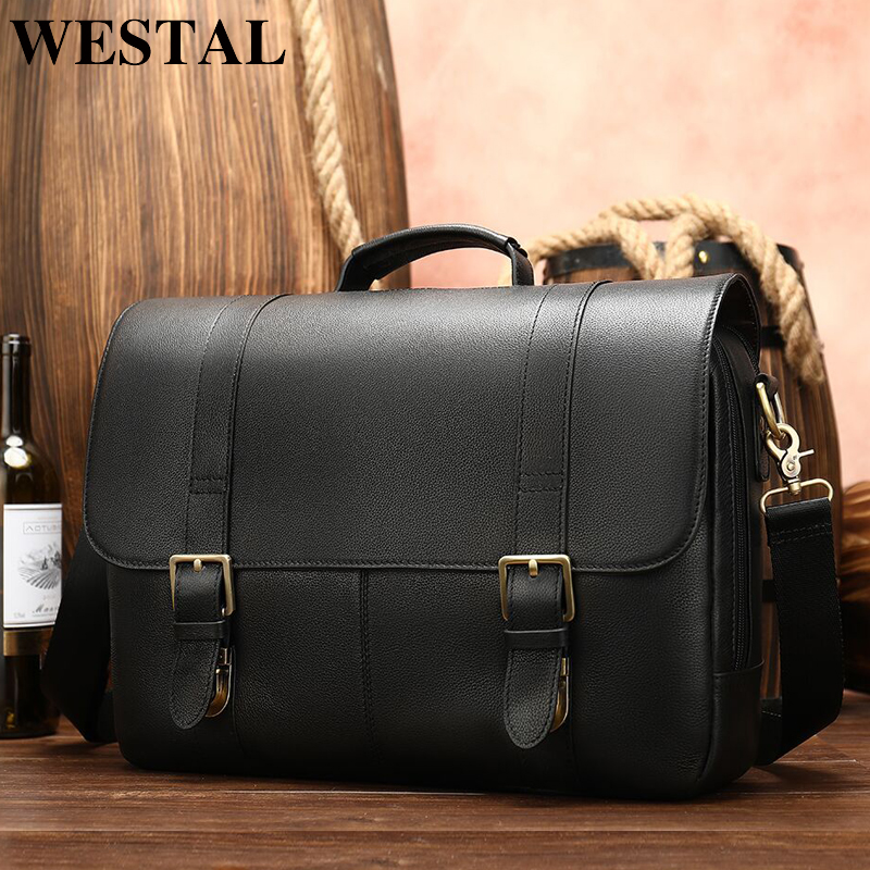 WESTAL men's briefcase leather laptop bag for men document bag men's genuine leather office bag for men's briefcase handbag 8580|Briefcases| |  - title=