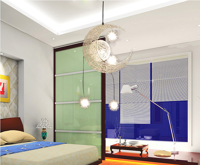 Moon Star Pendant Light with 5 G4 Lights Modern Pendant Lamp Children Bedroom Lustres Hanging Home
