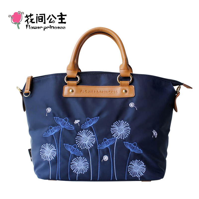 Flor Princesa Marca de Moda Feminina Top-handle Handbag Senhoras Moda Dandelion Pattern Bordado Ombro Crossbody Bag X006