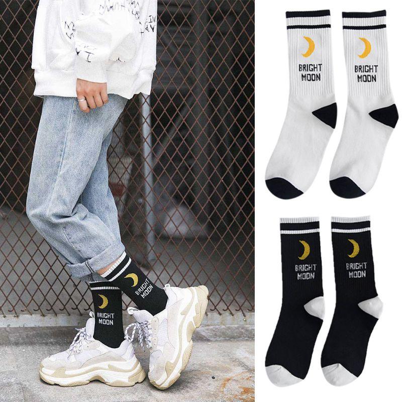 Men Women Harajuku Hip Hop Autumn Elastic Rib Trim Long Crew Socks New Moon Letters Stripes Printed Couples Cotton Tube Hosiery