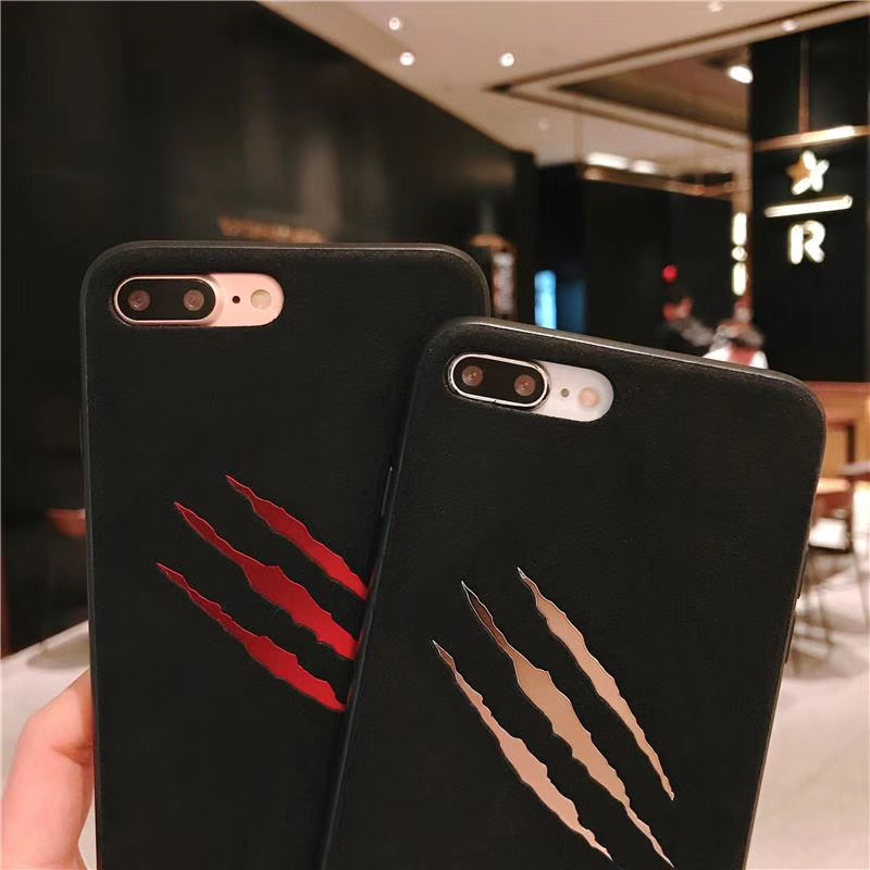 New Fashion trend scratches Ultra thin cover case for iphone 6 6S plus 7 8 plus X 10 XS MAX XR Black hard plastic phone cases in Half wrapped Cases from Cellphones Telecommunications