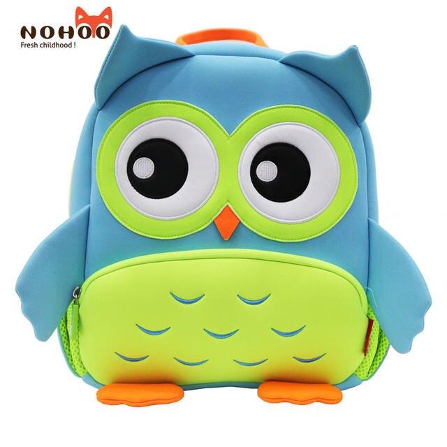 NOHOO Children 3D Animal OWL Design School Bags Kids Baby Kindergarten  Cartoon Student Backpacks Neoprene Boys Girl Mochila Bag