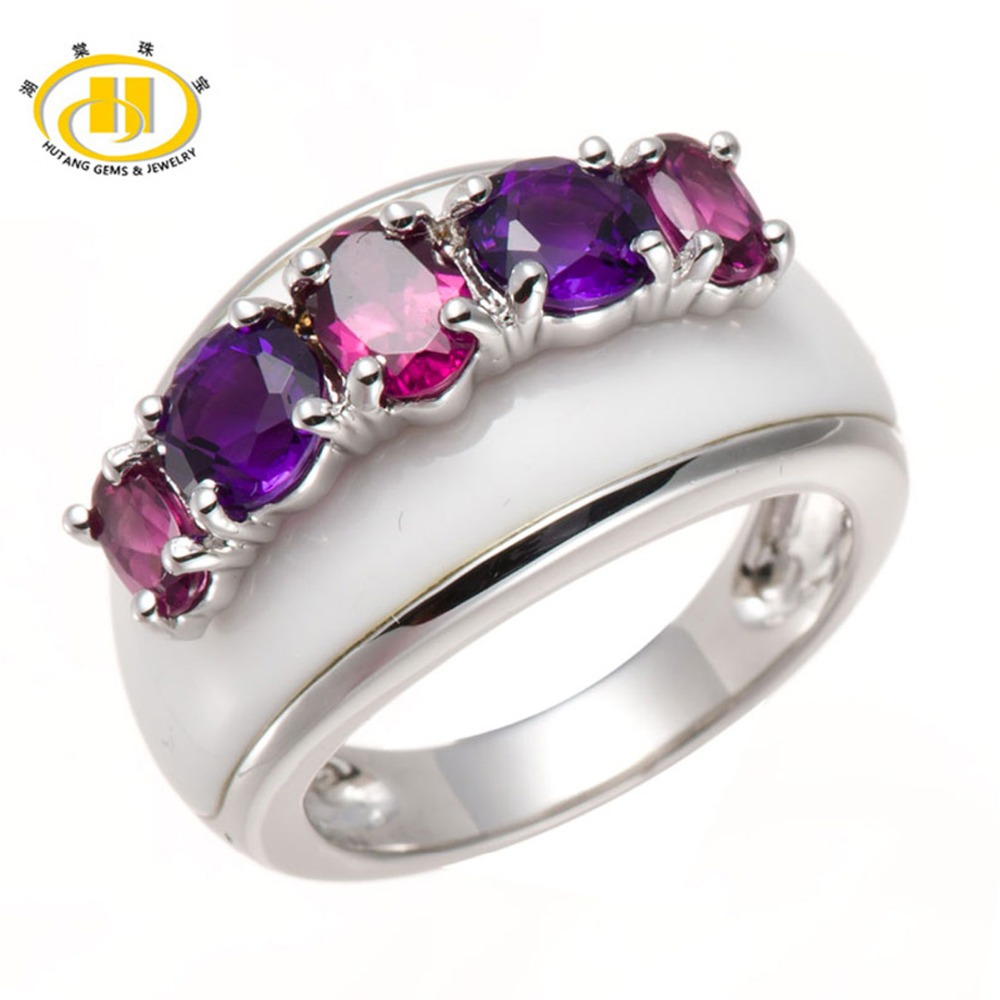 Ordinary 925 Sterling Silver fine Natural Purple Ring Amethyst Purple Gems Silver Ring