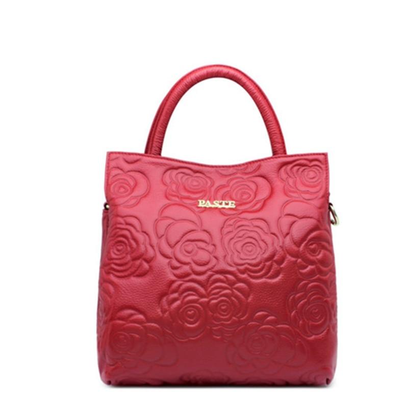New Messenger Bags for Women Genuine Leather Flower Pattern Handbag Female Brand Shoulder Bag Ladies Crossbody Bags
