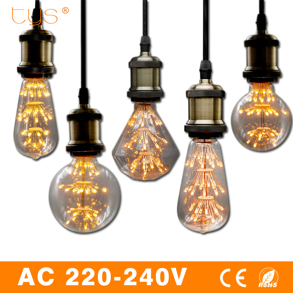 все цены на Antique Retro Vintage Led Edison Bulb E27 AC 220V LED Filament Light ST58 ST64 G80 G95 Lampada Led Light Bulb