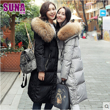 2016 new hot winter Thicken Warm woman Down jacket Coat Parkas Outerwear Raccoon Fur collar Hooded long plus size XL Luxury Cold