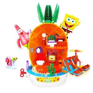 Image 2 - 2020 SpongeBob musique ananas maison Compatible lepining bob léponge amis blocs de construction éducation jouets pour enfants anniversaire