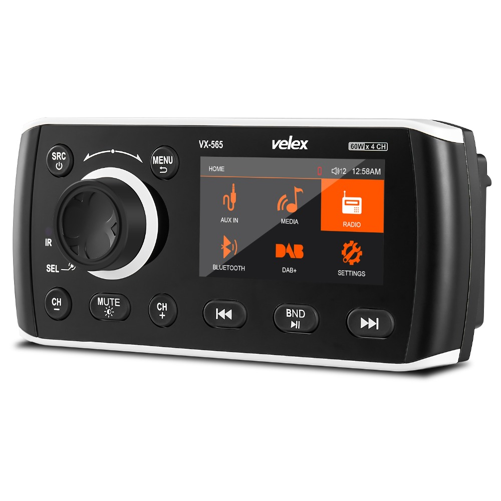 Marine Stereo, Media Center, Bluetooth Amplifier, Radio DAB+/AM/FM tuner, 50W X 4 channels for Boat, UTV, ATV, Spa, Hot Tubes