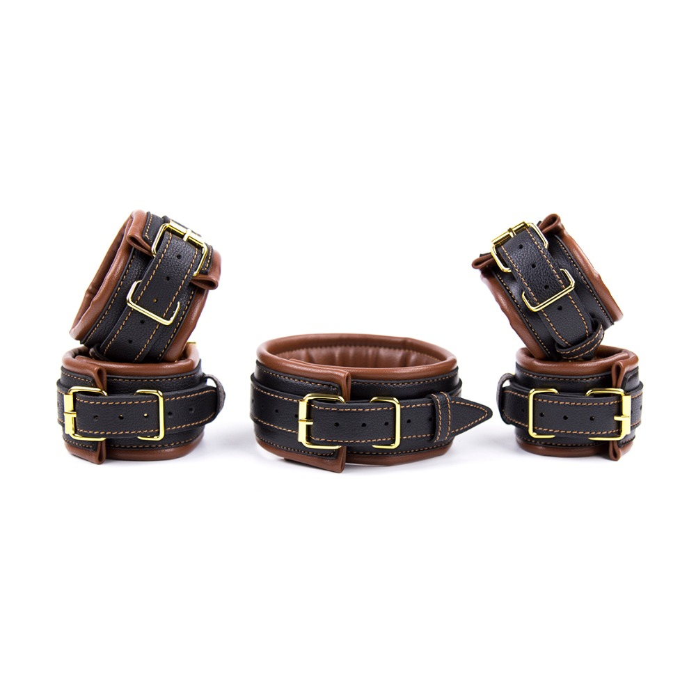 2017 New bondage set leather slave collar bdsm+handcuffs for sex adult sex toys for couples fetish bondage Top quality products