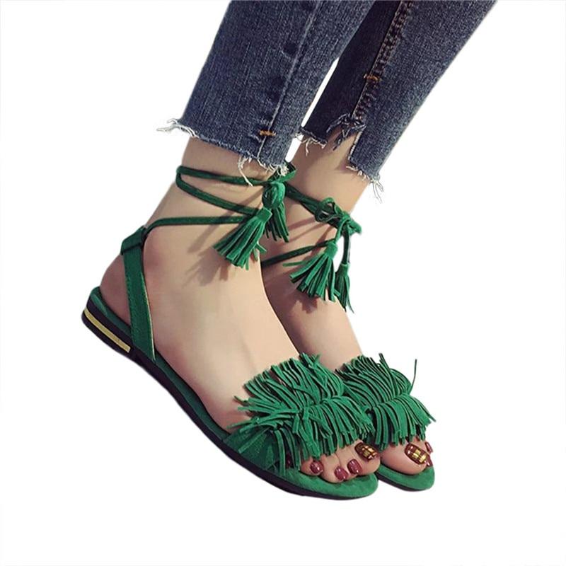 2018 Fashion Women Tassel Flat Mujer Summer Sandals Women Flats Ladies Shoes Woman Ankle Strap Wedding Chaussure Femme 0427