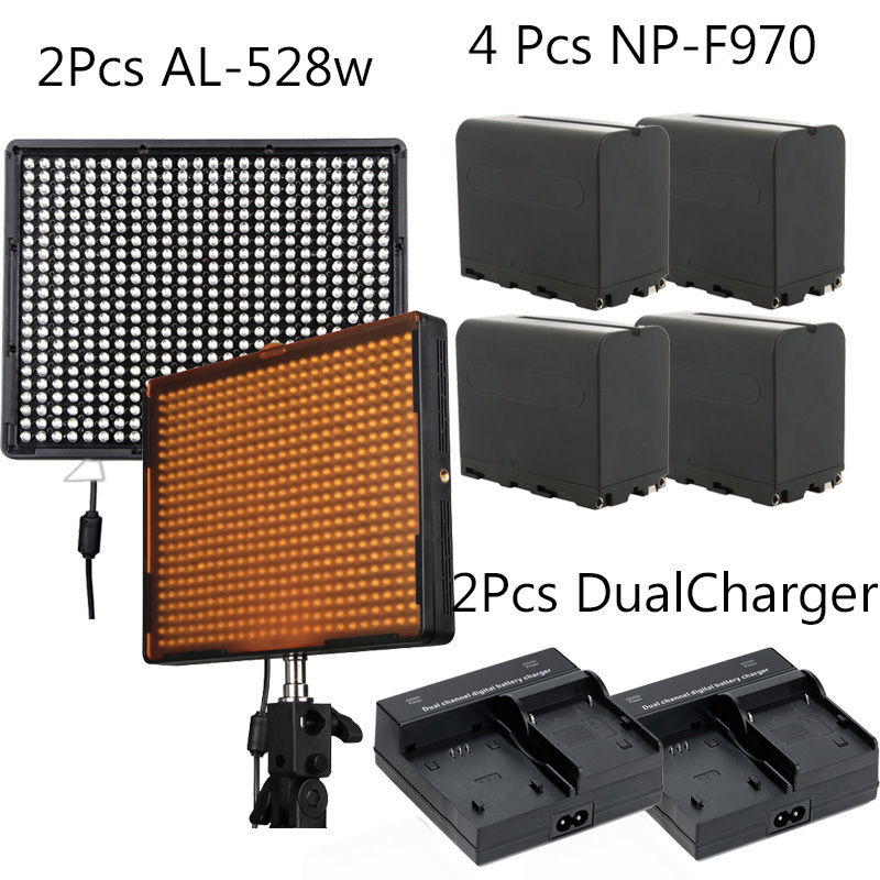 2 Aputure H528W LED Video Light Panels Kits + 4x NP-F970 +2 Dual charger