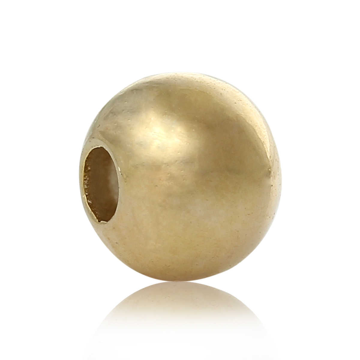 "Copper Spacer Beads Round Gold Color About 3mm( 1/8"") Dia, Hole:Approx 1mm, 15 PCs new"