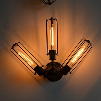American Style Loft Industrial Edison Retro Vintage Wall Light Lamp With 3 Lights , Wall Sconce Free Shipping,AC,E27 free shipping high quality glass steam pipe head mirror lamp loft northern europe american vintage retro wall lamp e27