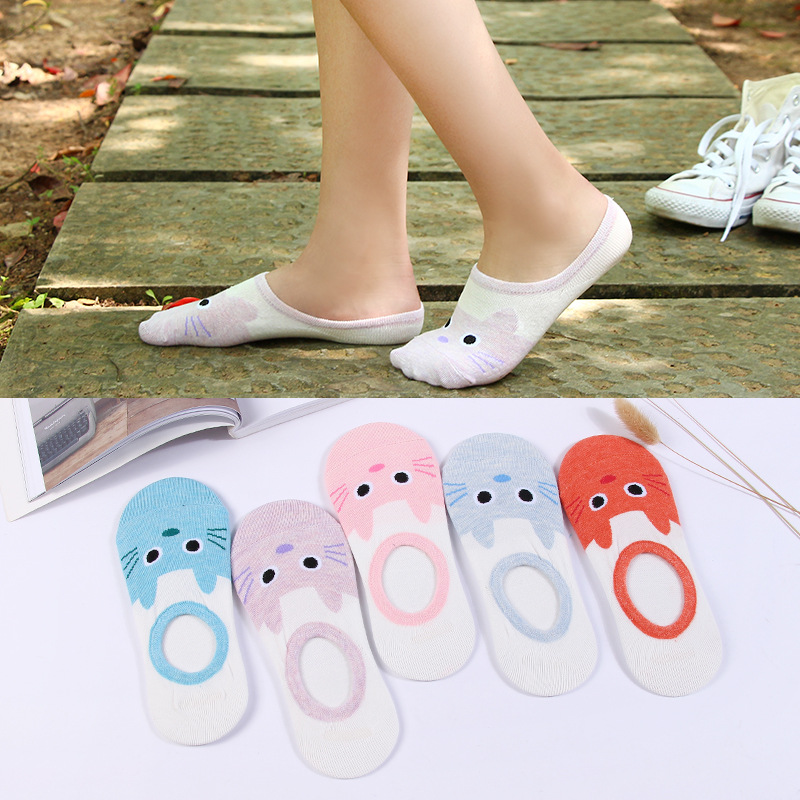 New Women Candy Color Sock Small Animal Cartoon Short Cotton Boat Socks Breathable Casual Ladies Sock 1Pair=2pcs