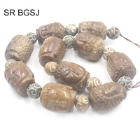 Free Shipping 20x28mm Carved Buddha Hua Show Jades Genuine Gems Craft Stone Beads Strand 15
