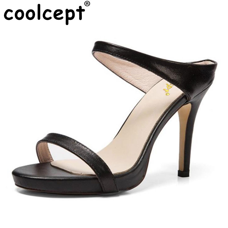Coolcept Ladies Real Leather High Heeled Sandals Summer Shoes Women Solid Color Slipper Party Sexy Club Footwears Size 34-39 collins picture atlas