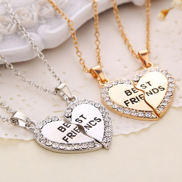 Best Friends Necklace 2 Parts Charming Splice Broken Heart Letter Pendant Forever Silver And Gold Friendship Jewelry Wholesale